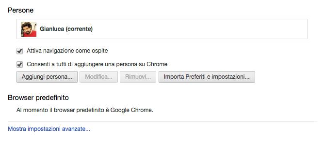 Impostazioni avanzate Google
