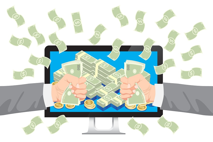 Get money from online business holding dollar in hand with falling money vector