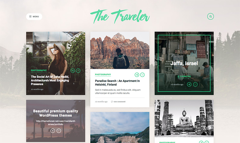 The Traveller: tema travel blog