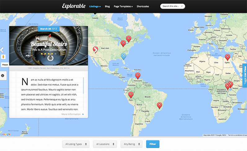 Explorable: tema wordpress sito viaggi