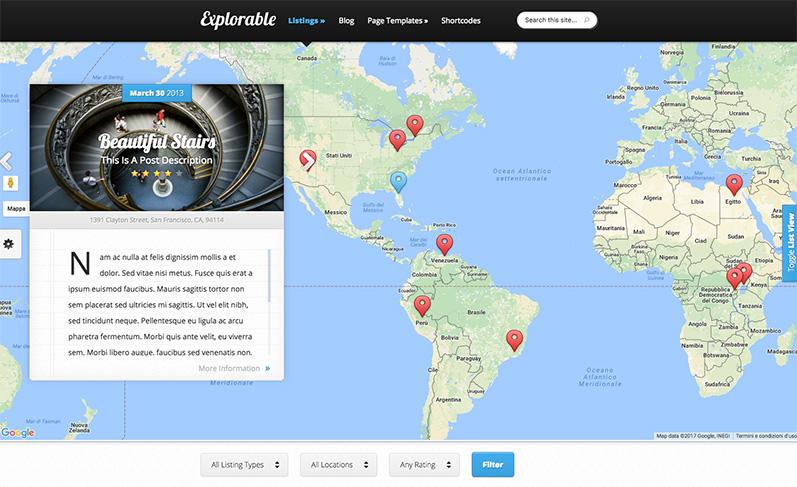 Explorable: tema wordpress sito viaggi