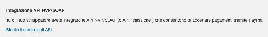 Richiedi credenziali API Paypal