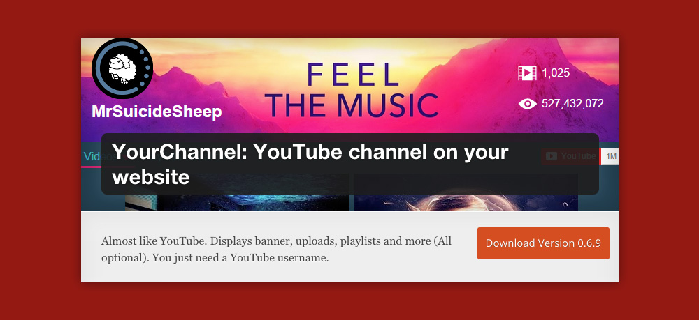 Wordpress video gallery: Yourchannel
