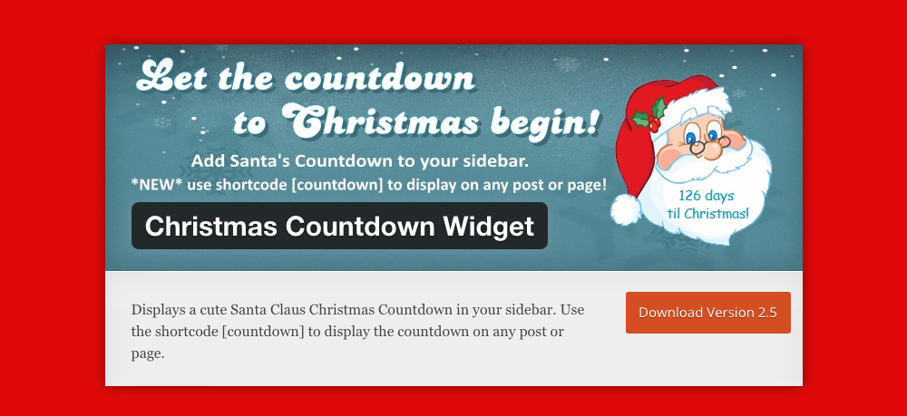 Widget WordPress Natale: Christmas Countdown Widget