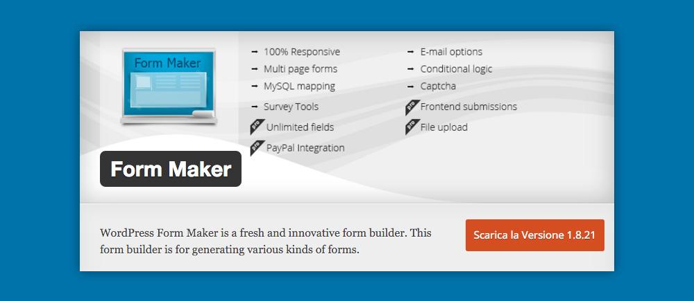 Cosa sono i Widget WordPress e come si usano: Form Maker