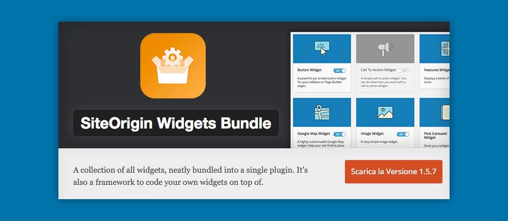 Cosa sono i Widget WordPress e come si usano: Site Origin Widget Bundle