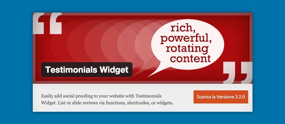 Cosa sono i Widget WordPress e come si usano: Testimonial Widget