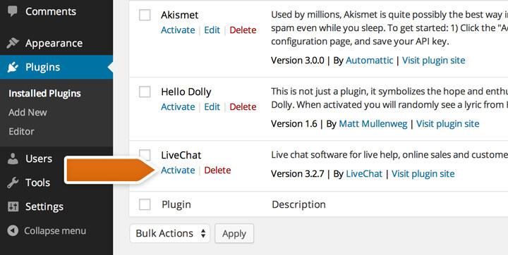 installazione chat wordpress