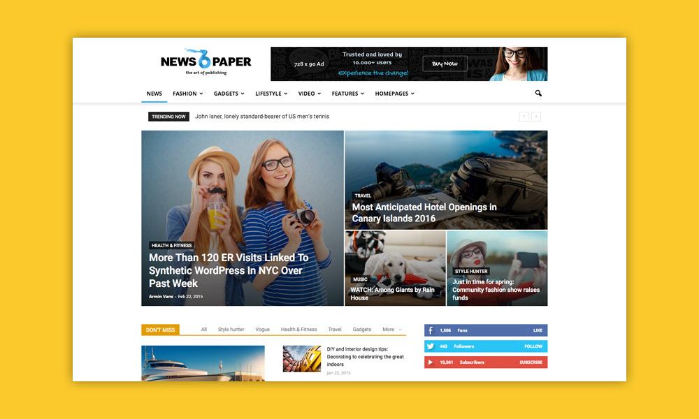 AdSense WordPress Temi: Newspaper