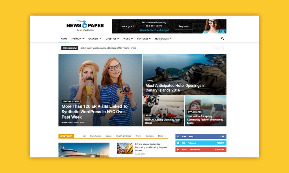AdSense WordPress Temi: Newspaper