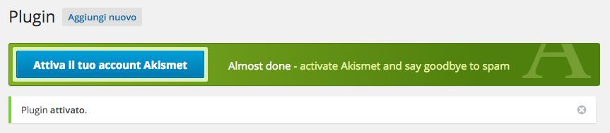 akismet - attivazione