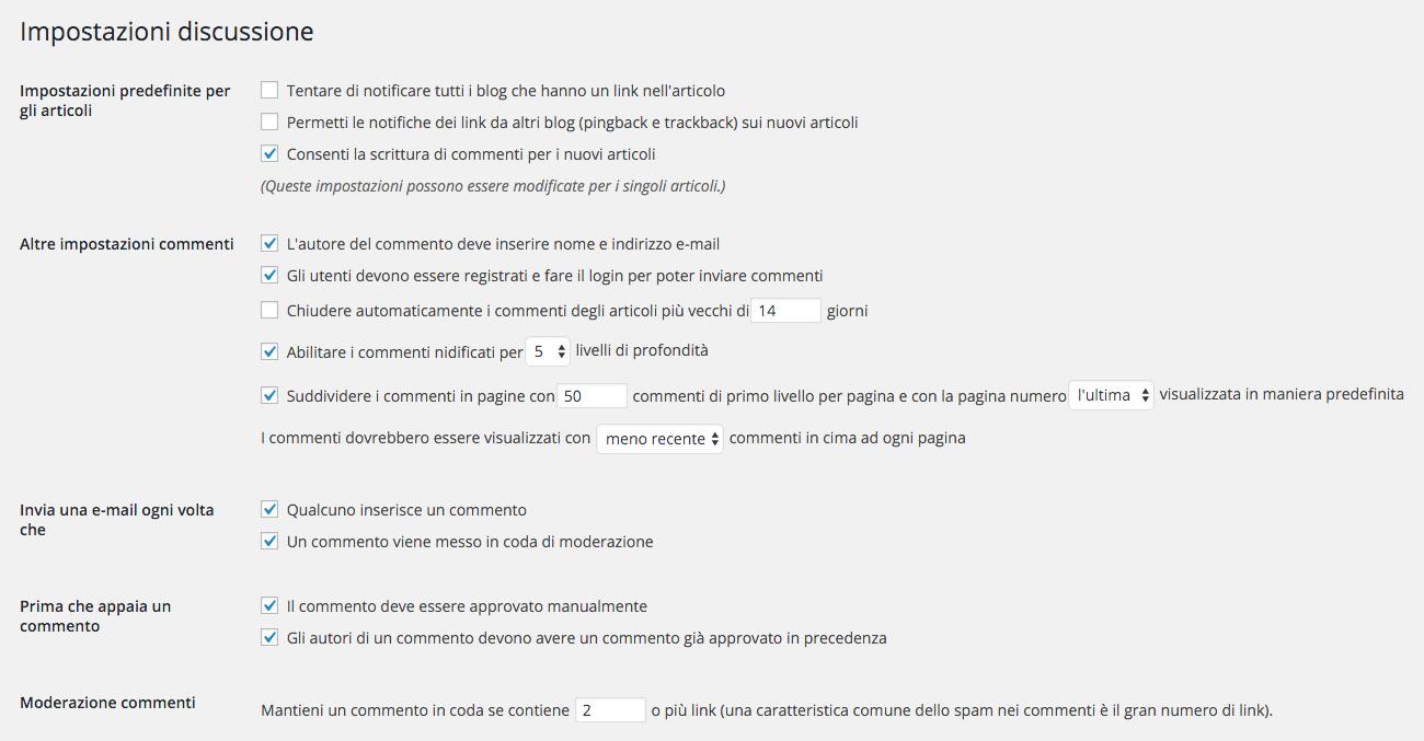 wordpress spam impostazione discussioni