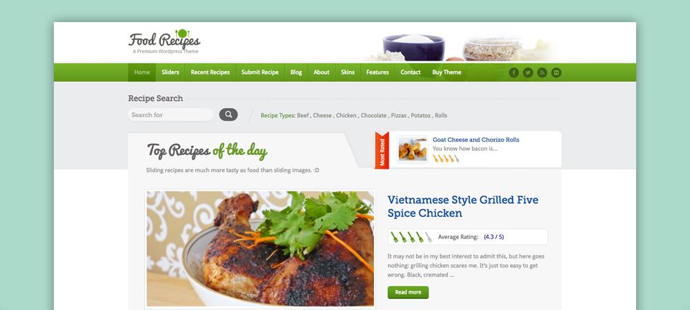 Tema blog di cucina: Food Recipe