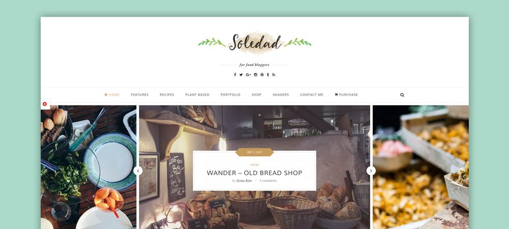 Tema blog di cucina: Soledad