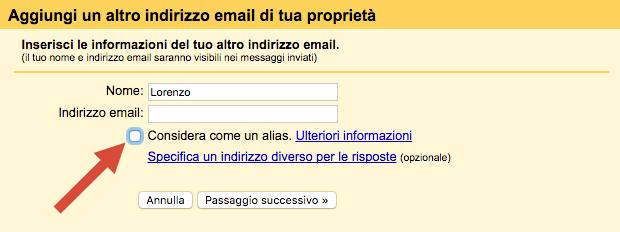 Gmail: aggiungi indirizzo email
