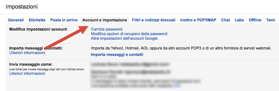 Impostazione account e importazione gmail