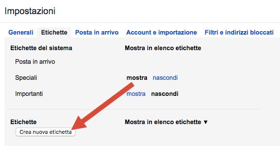 Gmail impostazione etichette