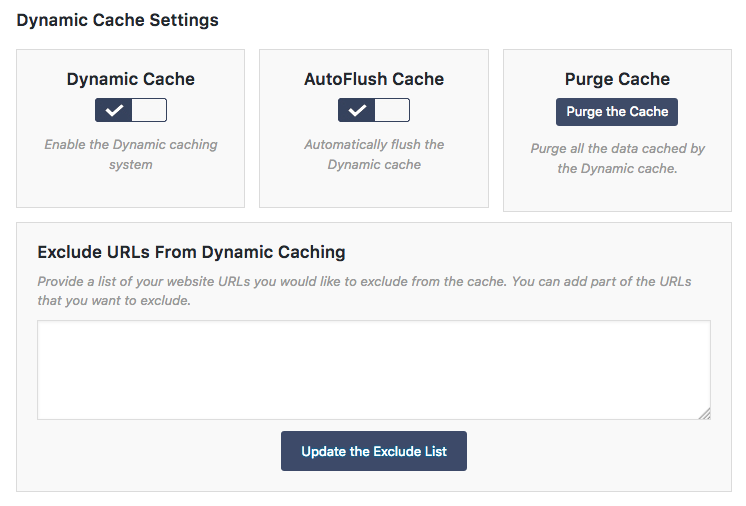 Dynamic Cache Settings