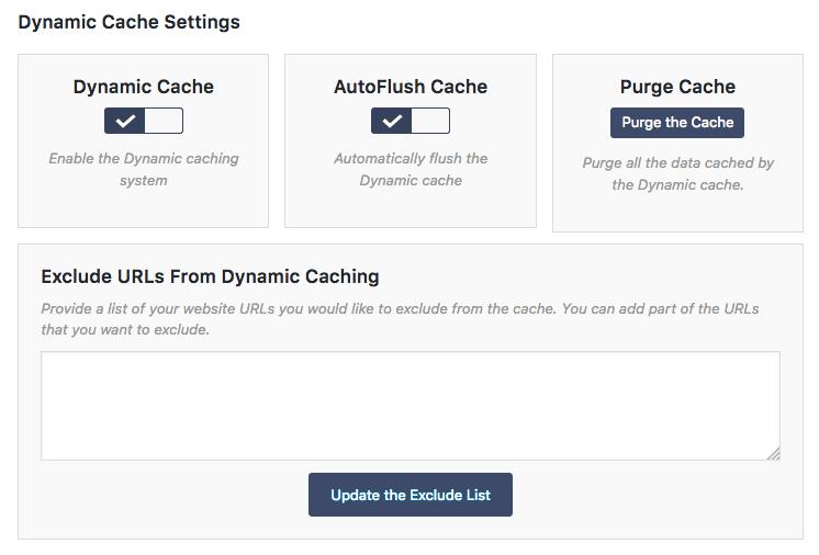 Dynamic Cache Settings