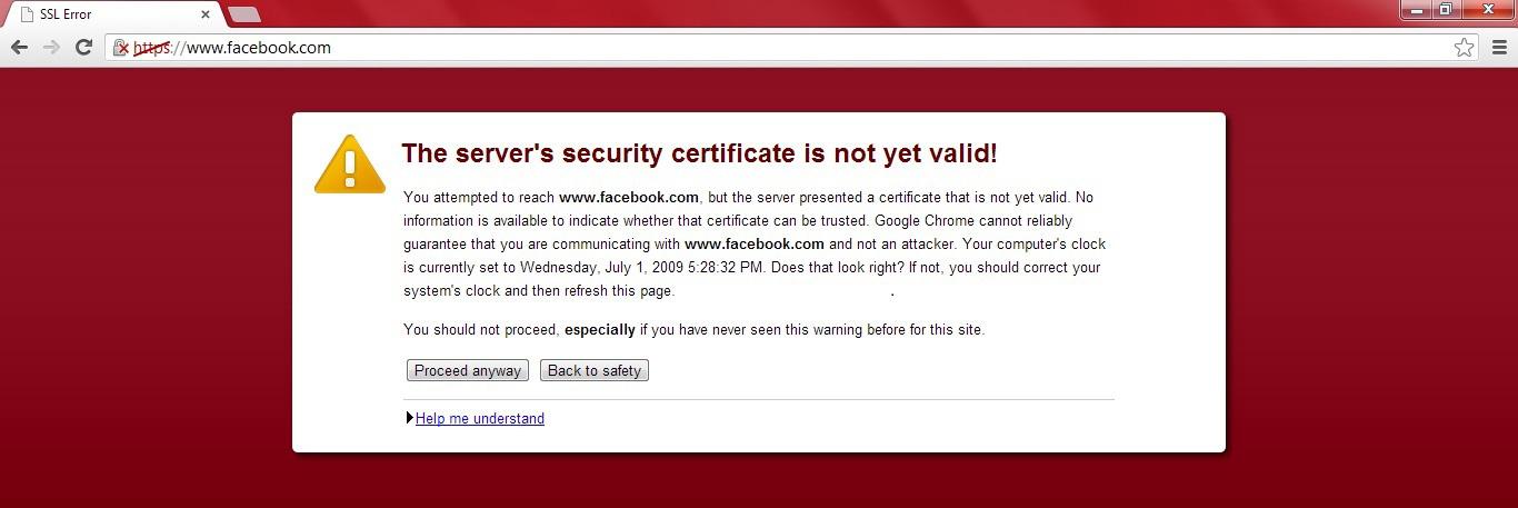 HTTPS Certificate Not Valid Example