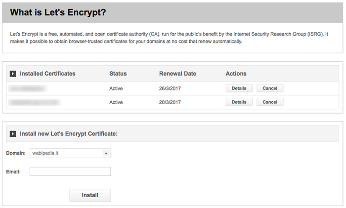 Let's Encrypt cPanel Page