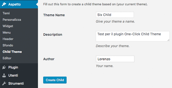 One Click Child Theme plugin