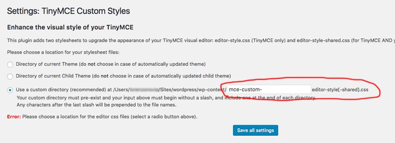 TinyMCE Custom Styles Impostazioni