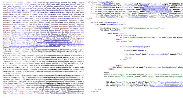 Codice Sorgente Pagina HTML