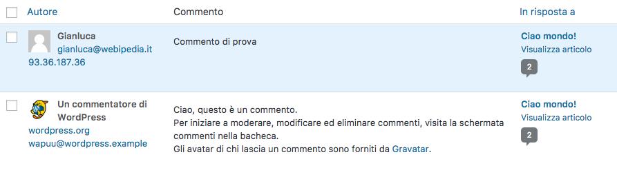 commenti wordpress