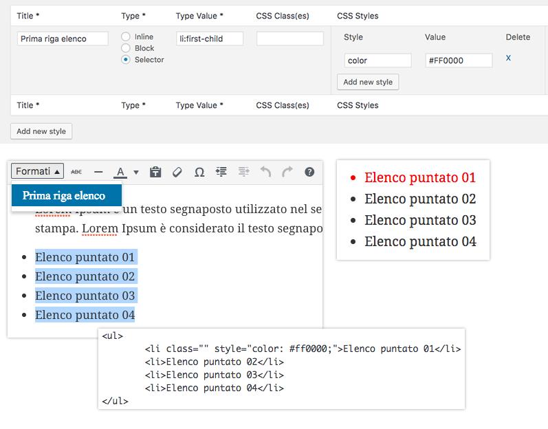 Esempio con selettore CSS