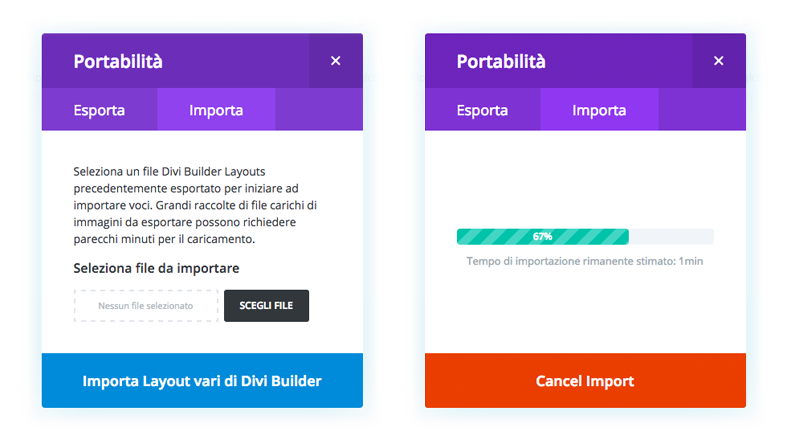 importare layout landing page