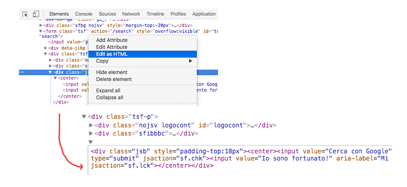 Modifica Come HTML