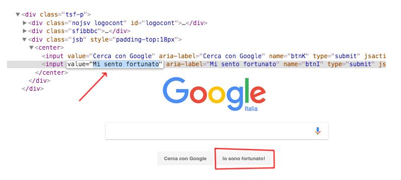 Modificare HTML con l'inspector