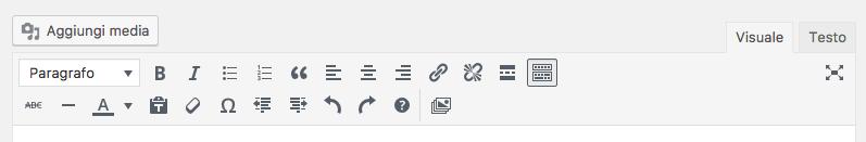 shortcut wordpress editor visuale