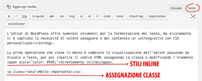 Span con CSS inline e classi