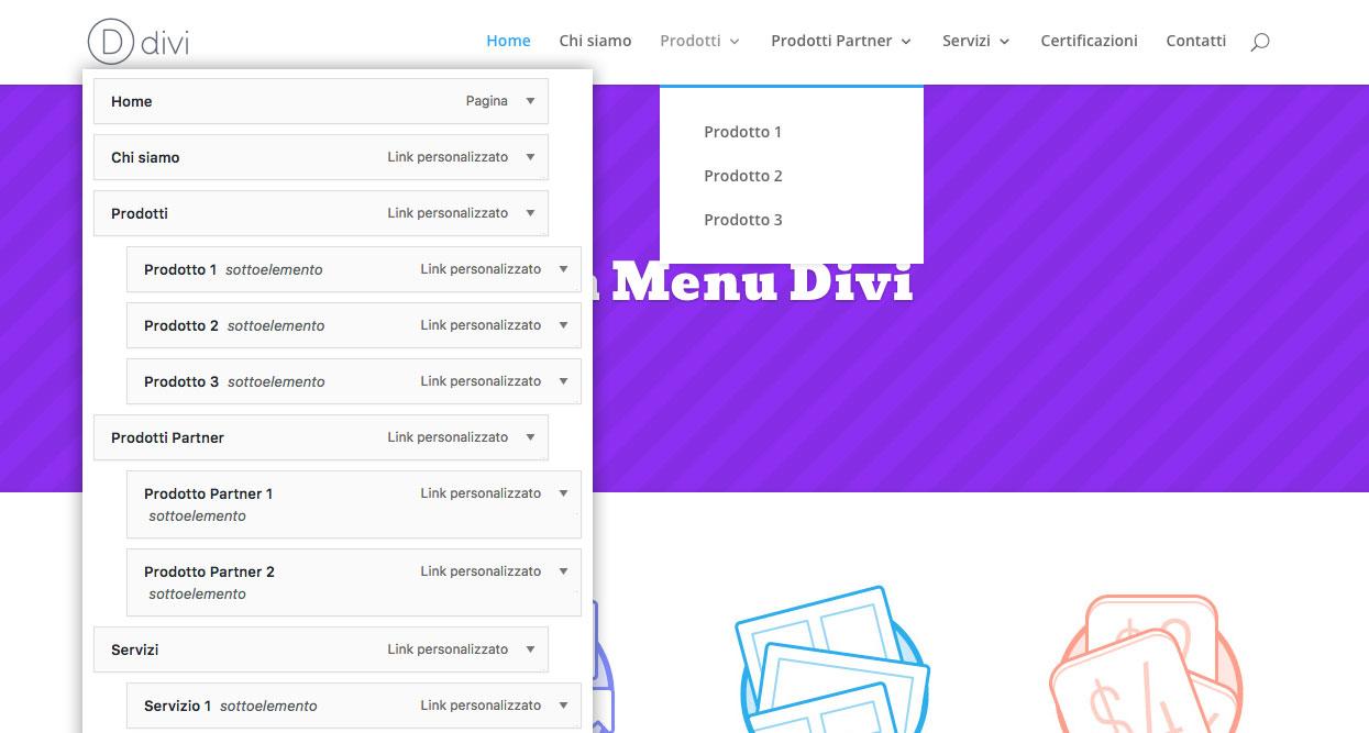 divi mega menu