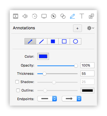 opzioni annotation screenflow