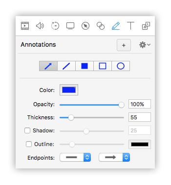 opzioni annotation screenflow