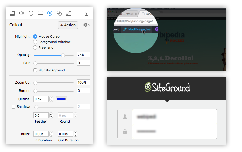 opzioni callout screenflow