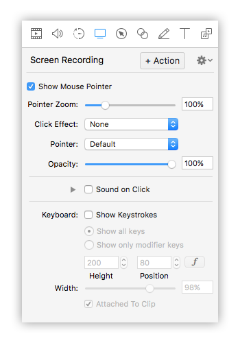 opzioni screen recording screenflow