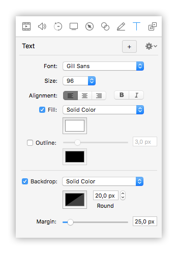 opzioni testo screenflow