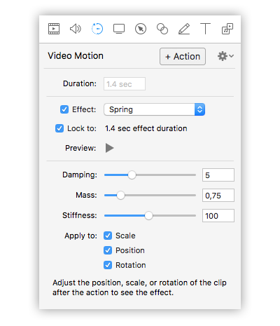 opzioni video motion screenflow