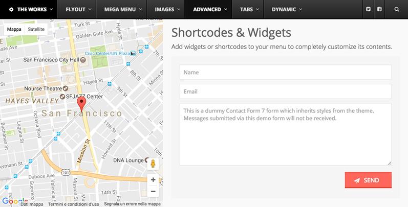 ubermenu shortcode mappa