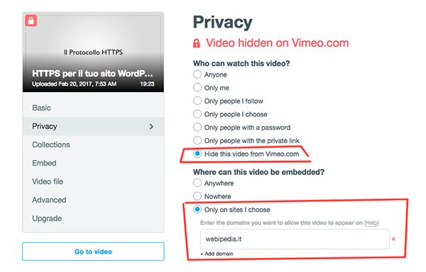 Vimeo impostazioni privacy