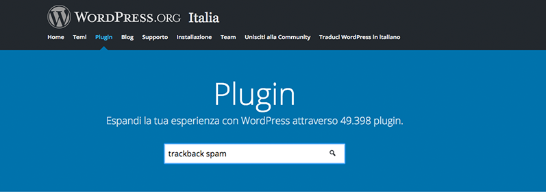 WordPress plugin trackback spam