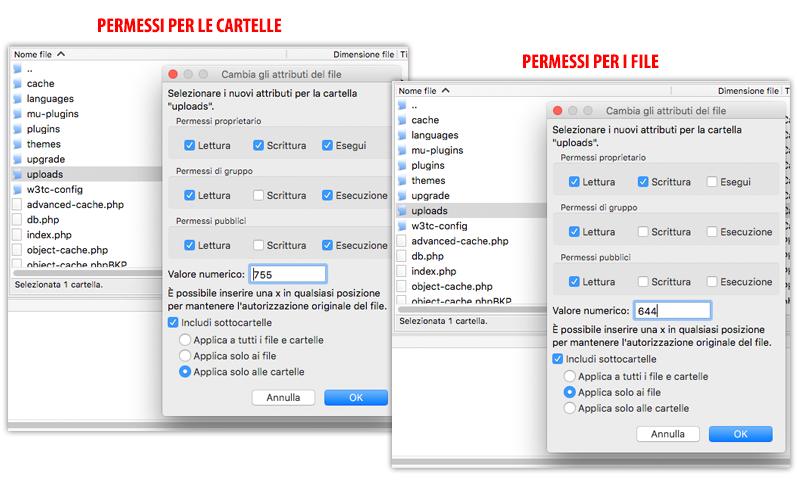 Permessi in WordPress per file e cartelle