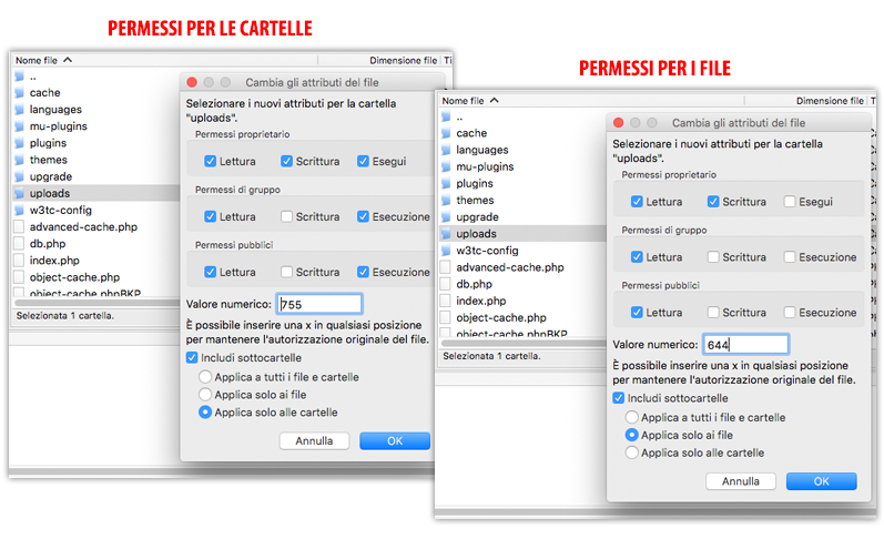 Permessi in WordPress per file e cartelle