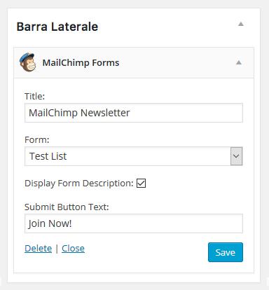 widget iscrizione newsletter mailchimp