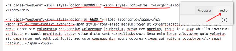 WordPress visualizzazione testo