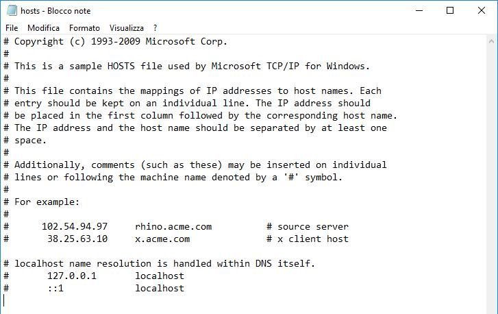 File hosts contenuto